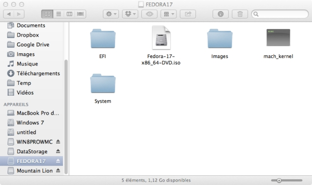 FEDORA17 Partition's Contents